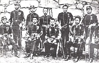 Satsuma Rebellion - Imperial Japanese Army officers of the Kumamoto garrison, who resisted Saigō Takamori's siege, 1877