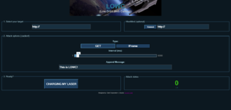 Low Orbit Ion Cannon - A screenshot of LOWC (Low Orbit Web Cannon) running in a web browser.
