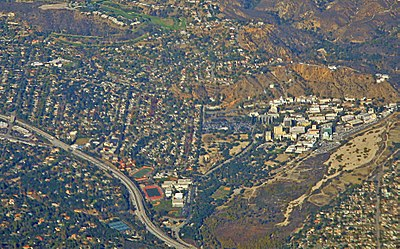 La Cañada Flintridge,  the Foothill Freeway, and, on the right, the Jet Propulsion Laboratory, 2014