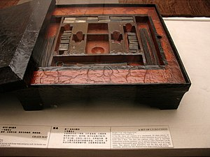 Liubo - A lacquered Chinese liubo board game set excavated from Tomb No. 3 of Mawangdui site, Changsha, Hunan province, China, dated to the 2nd century BCE during the Western Han Dynasty