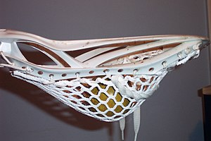 Lacrosse stick - A legal men's pocket where the top of the ball is above the bottom of the stick's sidewall.
