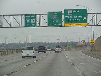 Oklahoma State Highway 74 - The end of the Lake Hefner Parkway in Oklahoma City, Oklahoma at its interchange with I-44