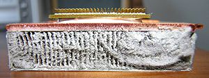The dust on the laptop CPU heat sink after thr...