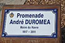 Le Havre (France), plaque of mayor André Duroméa.JPG