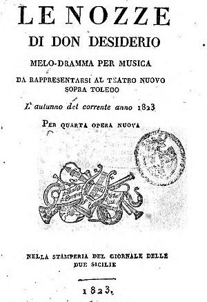 Giuseppe Balducci - Libretto for Balducci's 1823 opera Le nozze di Don Desiderio
