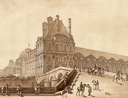 The Pavillon de Flore, the seat of the Committee of Public Safety and General Police Bureau. Also, Joachim Vilate lived there in an apartment. Drawing in brown ink (1814) Le Pont Royal et le Pavillon de Flore, 1814 - BnF.jpg