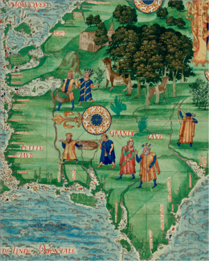 Guillaume Le Testu - Guillaume Le Testu, Jave la Grande, in Cosmographie Universelle, 1555/56.  Note that North is to the left