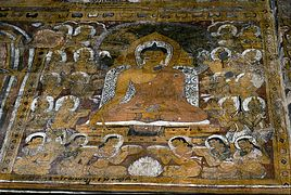 Frescoes of the Buddha and other people
