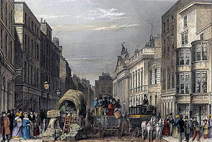 Leadenhall Street - A picture of Leadenhall Street (engraving after Thomas H. Shepherd, 1837)