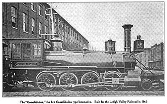 2-8-0 - Lehigh and Mahanoy Railroad's Consolidation of 1866, the first 2-8-0 built