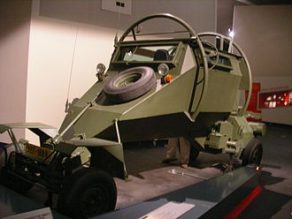 Rhodesian Bush War - A Leopard APC, mine-protected vehicle, designed and built in Rhodesia during the late 1970s and based on a Volkswagen engine. This example is displayed in the Imperial War Museum North, Manchester, UK
