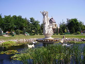 Licheń Stary - Fountain in Licheń Park popular with frequent visitors