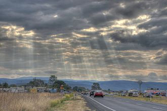 Warrego Highway - Image: Light Shining Through Clouds