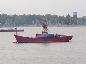 Lightvessels in the United Kingdom - The East Goodwin lightvessel while under repair at Harwich.