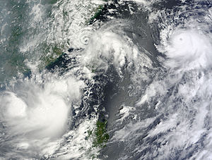 Typhoon Kompasu (2010) - Lionrock (left), Namtheun (middle) and Kompasu (right) on August 31