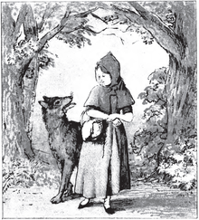 A drawing of Little Red Riding Hood standing next to the Wolf
