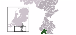 Highlighted position of Eijsden-Margraten in a municipal map of Limburg