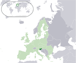 Location of  Slovenia  (dark green) – on the European continent  (light green & dark grey) – in the European Union  (light green)  —  [Legend]