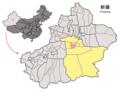 Location of Korla within Xinjiang (China).png