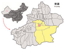 Location of Korla within Xinjiang (China).png