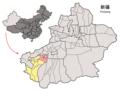 Location of Maralbexi within Xinjiang (China).png