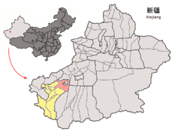 Location of the county (red) within Kashgar Prefecture (yellow) and Xinjiang