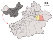 Location of Piqan within Xinjiang (China).png