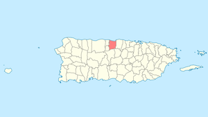 Location of Manatí in Puerto Rico