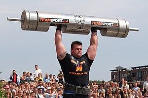 English: Strongmen event: Log Lift. Equipment ...