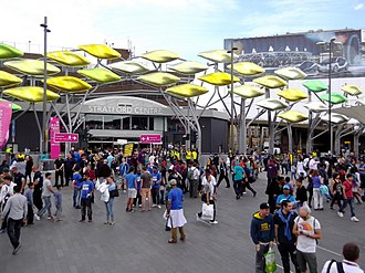 "Stratford Centre - The Stratford Centre in 2012, with the ""Stratford Shoal"" sculpture"