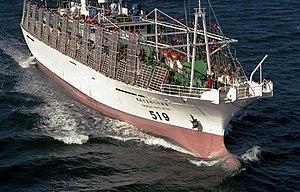 Fishing industry in New Zealand - Squid jigger in Cook Strait