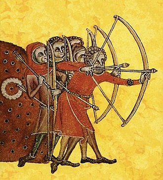 Peasants' Revolt - Peasant longbowmen at practice, from the Luttrell Psalter, c. 1320–40