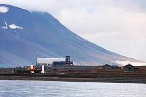Svalbard Airport, Longyear - The airport as seen from the fjord