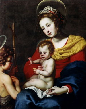 Lorenzo Lippi - Madonna and Child with young St John the Baptist.