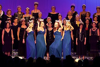 """Sweet Adelines International competition - LoveNotes quartet performing as reigning """"queens of harmony"""" in 2014"""