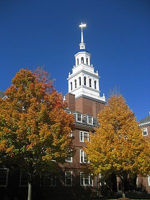 Abbott Lawrence Lowell - Lowell House bell tower in autumn.