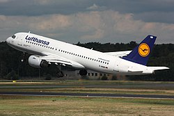 An Airbus A320 in service with Lufthansa