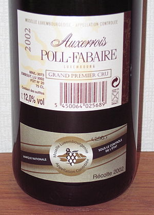 Luxembourg wine - The back label of a bottle of Auxerrois wine from Luxembourg. Note the Marque Nationale and the Grand Premier Cru designation.