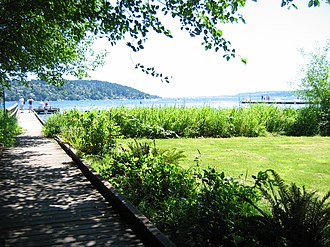 Lake Forest Park, Washington - Lyon Creek Waterfront Preserve provides viewing opportunities of Lake Washington.