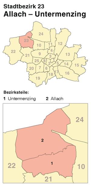Allach-Untermenzing - Image: München Stadtbezirk 23 (Karte) Allach Untermenzing