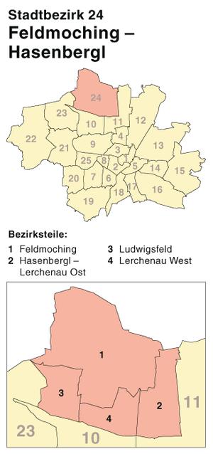 Feldmoching-Hasenbergl - Location of Feldmoching-Hasenbergl in Munich