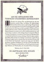 Münchner Dank an die Tübinger Studentenkompanien 1919