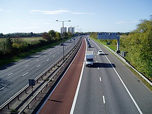 M4 motorway - M4 bus lane near Norwood Green, Ealing