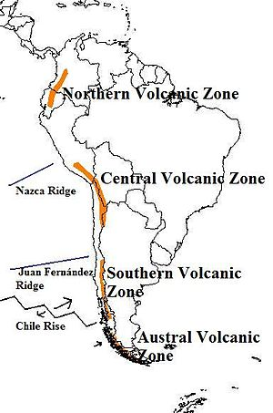 Juan Fernández Ridge - Map of the volcanic arcs in the Andes and subducted structures affecting volcanism