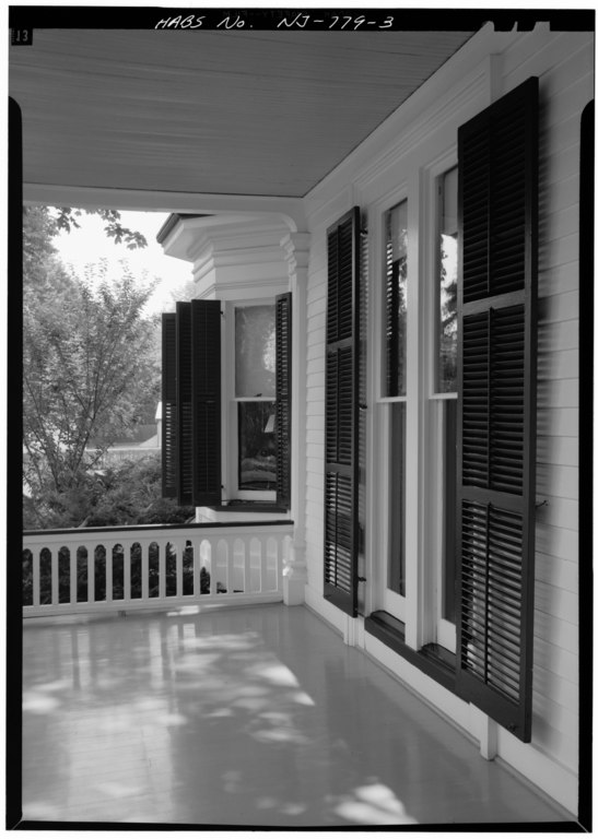 File main elevation detail of porch showing floor to for Floor to ceiling bay window