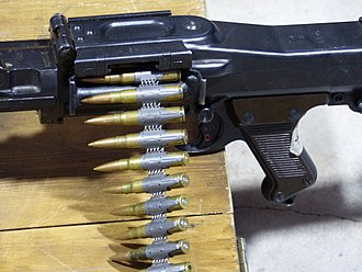 MG 34 - MG 34 with inserted Gurt 34 reusable non-disintegrating metal ammunition belt