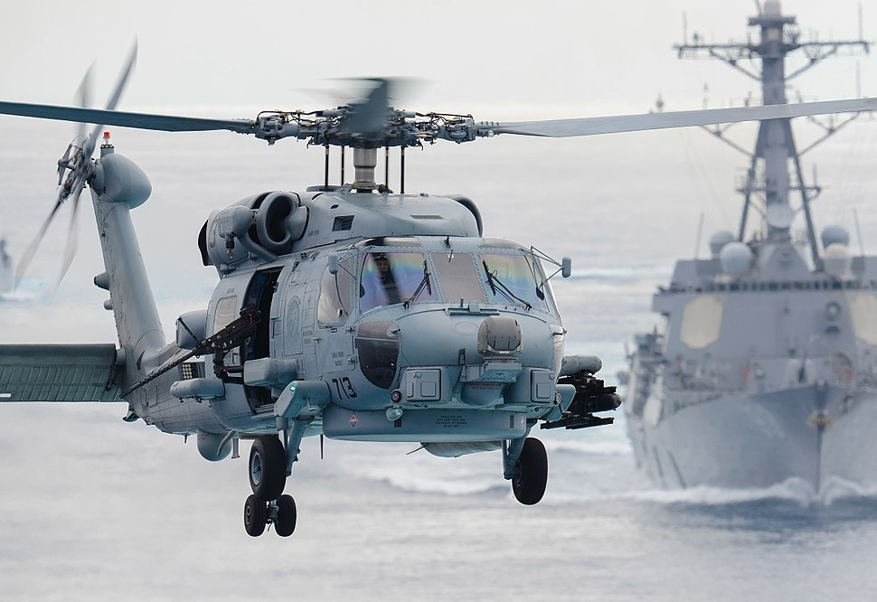 MH-60R Sea Hawk helicopter prepares to land aboard the aircraft carrier USS John C. Stennis (cropped)