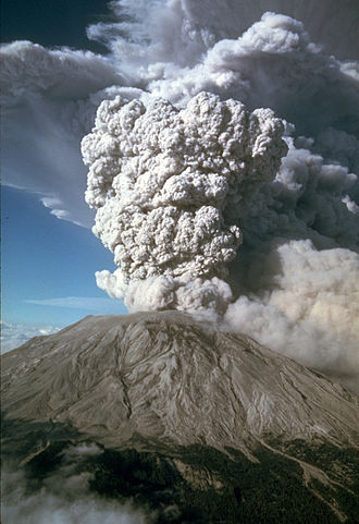 Ejecta - Mt. St Helens eruption plume, showing ejecta in the form of pyroclastic material (ash) 07-22-80
