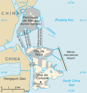 Wanzai, Small Hengqin and Great Hengqin islands - Current map of the Macau Special Administrative Region. To the west are the island of Hengqin and the peninsula of Wanzai.