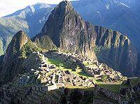 A view of Machu Picchu, a pre-Columbian Inca site in Peru.